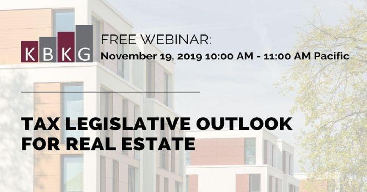 Tax Legislative Outlook for Real Estate