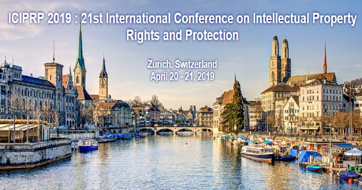 ICIPRP 2019 : 21st International Conference on Intellectual Property Rights and Protection